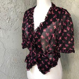 Vintage Betsey Johnson Sheer Floral Black Pink Top